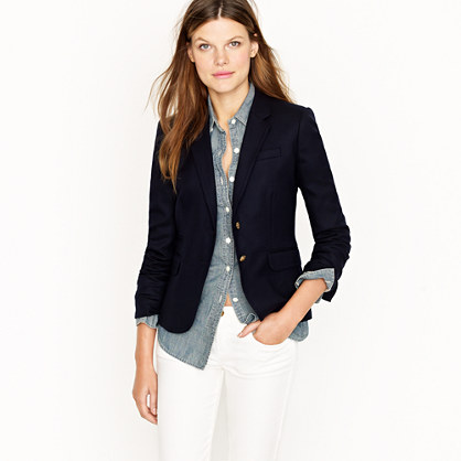 Womens Navy Blazer. Give any outfit an elegant finishing touch with a women's navy blazer! A fitted blazer is a great item to wear to work, especially in a neutral tone like navy blue. However, the smooth formal feel of blazers doesn't have to be limited just to the office. Browse blazers from Jones New York and more and have fun dressing them up for the weekend.