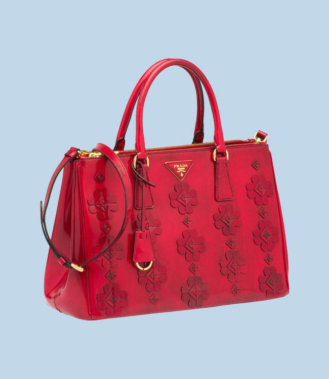 prada red flower bag