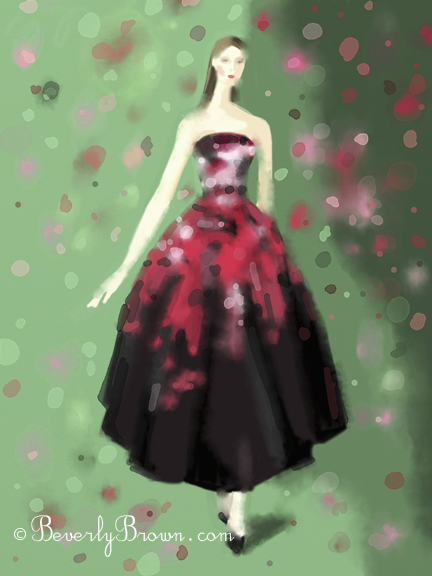 Fashion Illustration - Red and Black Gown - Christian Dior Couture Fall 2012 - by Beverly Brown