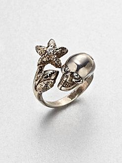 Alexander McQueen - Skull Crystal Claw Ring $245
