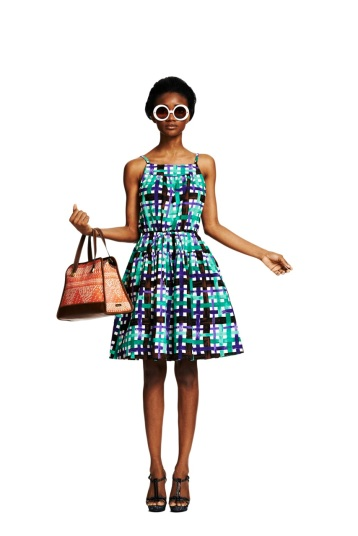Duro Olouw for JCP - Plaid Tie Waist Dress $40In Stores & Online at jcp.comRaffia Satchel $40In Stores & Online at jcp.comLeaf Print Heel $50Online at jcp.com