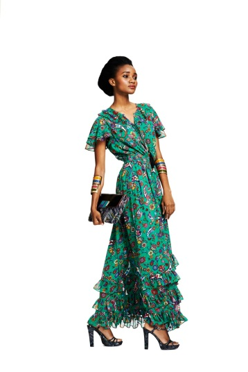 Duro Olowu for JCP - Green Paisley Maxi Dress $60 In Stores & Online at jcp.com  Enamel Cuff $15 In Stores & Online at jcp.com  Leaf Print Clutch $30 In Stores & Online at jcp.com  Leaf Print Heel $50 Online at jcp.com