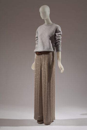 MICHAEL KORS, cashmere sweatshirt, hemp crystal beaded pajama pant, leather belt, and platform sandal, spring 2011, USA, Photograph MFIT / CFDA