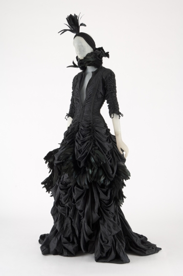 NORMA KAMALI, black parachute cloth and feather jacket, skirt, and turban, 2011, USA, Photograph MFIT / CFDA