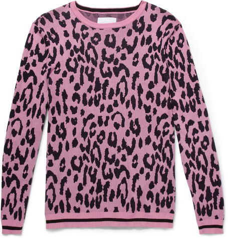 Sibling - Leopard-Patterned Cotton-Blend Sweater $320