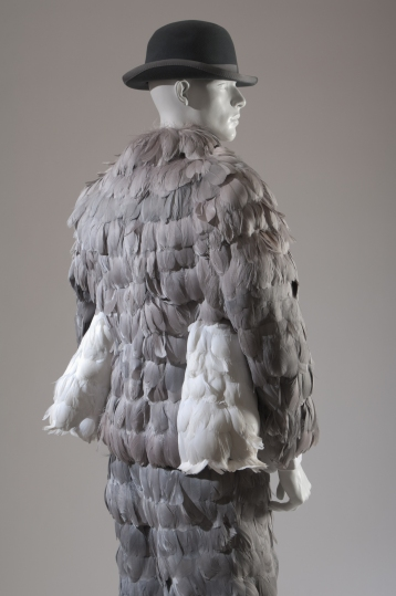 THOM BROWNE, pheasant feather/wool suit and grey felted fur bowler hat, fall/winter 2008-2009, USA, Photograph MFIT / CFDA