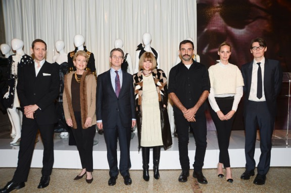 "Costume Institute Present ""PUNK: Chaos to Couture""  (Left to Right) Nick Knight, Emily K. Rafferty, Thomas P. Campbell, Anna Wintour, Riccardo Tisci, Lauren Santo Domingo, and Andrew Bolton"