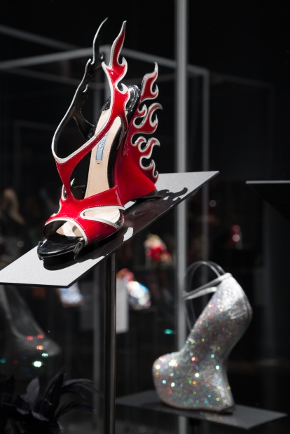 Shoe Obsession - Flame Shoes by Prada, Heel-less Shoes by Giuseppe Zanotti