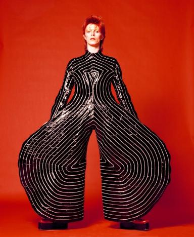 David Bowie - Striped bodysuit for Aladdin Sane tour 1973 Design by Kansai Yamamoto Photograph by Masayoshi Sukita © Sukita The David Bowie Archive 2012