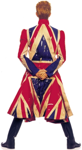 David Bowie is - Original photography for the Earthling album cover, 1997 Union Jack coat designed by Alexander McQueen in collaboration with David Bowie Photograph by Frank W Ockenfels 3 © Frank W Ockenfels 3