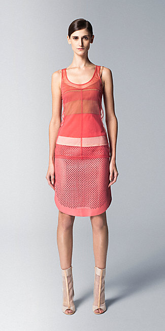 Reed Krakoff - Layered Block Stripe Tank and Perforated Curved Pencil Skirt