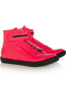 Karl Lagerfeld Leather High-top Wedge Sneakers $345