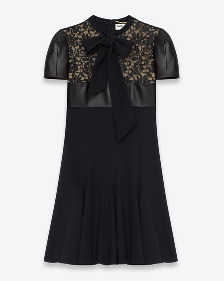 Saint Laurent Paris - Short Sleeve Leather Bow Dress $4190