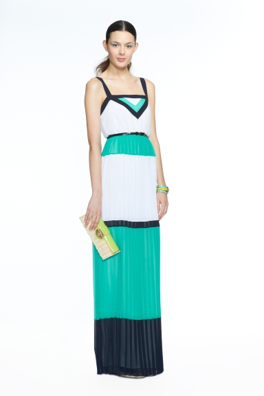 Banana Republic Milly Collection Blue/White Colorblock Pleated Maxi Dress, $175.00 Lime Patent Wicker Clutch, $120.00 Pool Green Enamel Lock Bangle, $39.50 Lime Baguette Bangle, $29.50