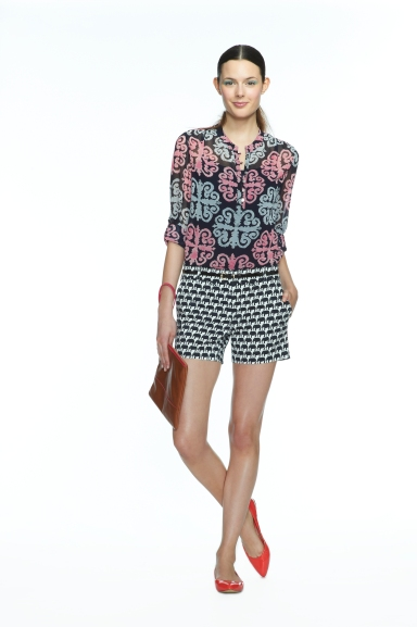 Navy/Pink Medallion Printed Roll-Sleeve Top, $89.50 Navy/White Elephant Print Short, $55.00 Cognac Wristlet, $79.50