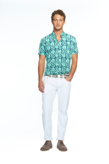 Banana Republic Milly Collection Pool Green Short-Sleeve Floral Print Shirt, $64.50