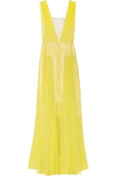 By Marlene Birger - Nadra Plunge-front Silk Chiffon Gown $875