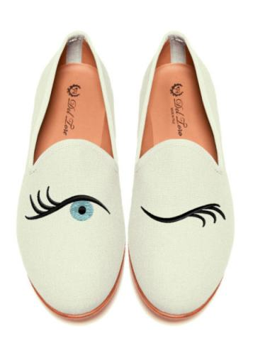 Del Toro - Prince Albert Bone Canvas Loafers