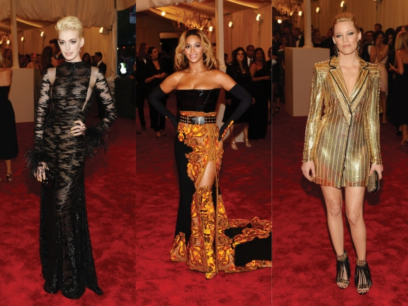 (L) to (R) Anne Hathaway in Vintage Valentino, Beyoncé in Givenchy, Elizabeth Banks in Atelier Versace