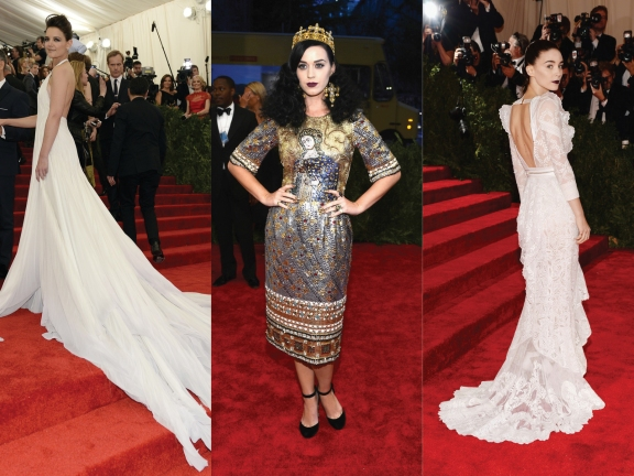 (L) to (R) Katie Holmes in Calvin Klein, Katy Perry in Dolce & Gabbana, Rooney Mara in Givenchy
