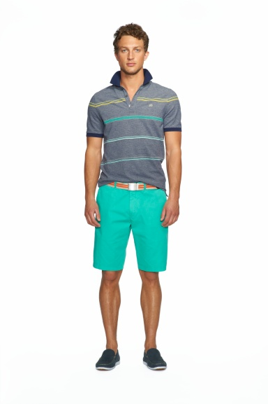 Banana Republic Milly Collection Grey Heather Stripe Piqué Polo, $49.50 Pool Green Solid Short, $59.50
