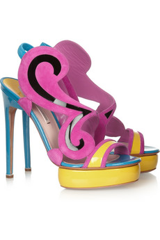 Nicholas Kirkwood - Color-block Suede and Patent-Leather Sandal $1210