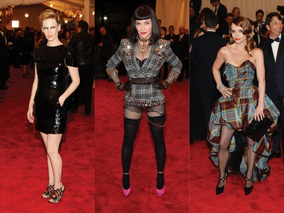 (L) to (R) January Jones in Chanel Haute Couture, Madonna in Givenchy, Christina Ricci in Vivienne Westwood