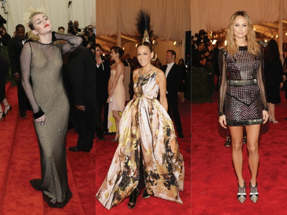 (L) to (R) Miley Cyrus in Marc Jacobs, Sarah Jessica Parker in headpiece by Phillip Treacy, dress by Giles Deacon, Stacey Keibler in Rachel Roy