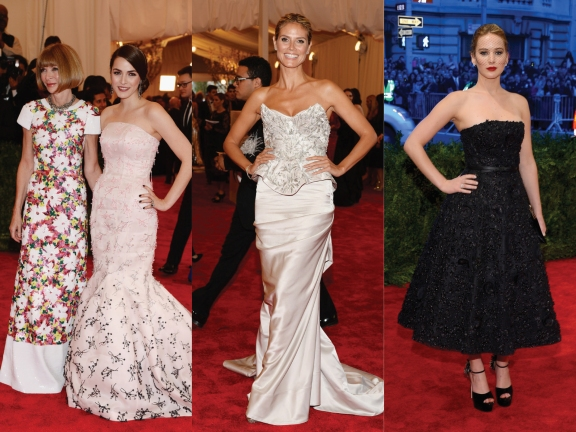 Anna Wintour in Chanel and Bee Shaffer in Dior, Heidi Klum in Marchesa, Jennifer Lawrence in Dior