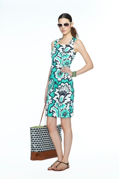 Banana Republic Milly Collection Pool Green Eden Rock Printed Dress, $130.00, Navy/White Elephant Print Tote, $130.00