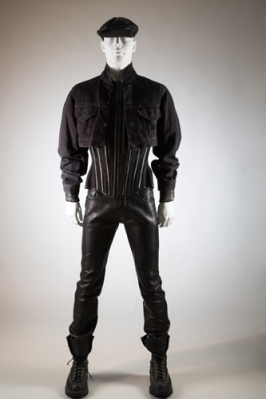 Man's black leather ensemble: Levis jacket, Mr Pearl corset, Abel Villarreal pant and custom Wesco boots, worn by Scott Ewalt, 1990s