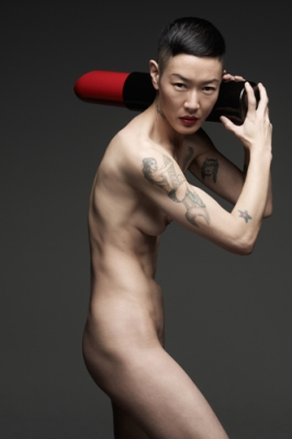 Model Jenny Shimizu, Helmut Red campaign. Photograph by Mark Seliger