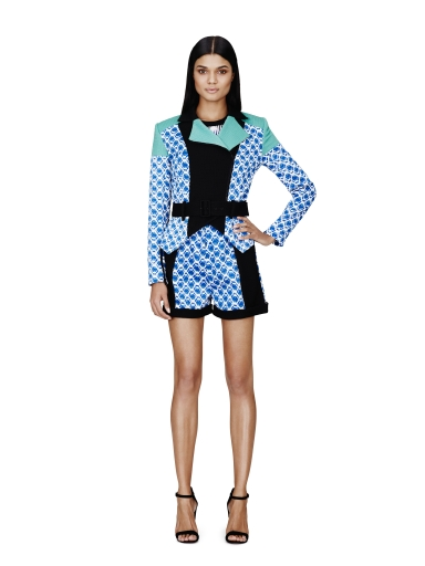 Moto Jacket in Blue Netting Print, $59.99** Cropped Sweater in White/Blue Print, $29.99** Short in Blue Netting Print, $29.99** **Available Globally on Net-A-Porter.com