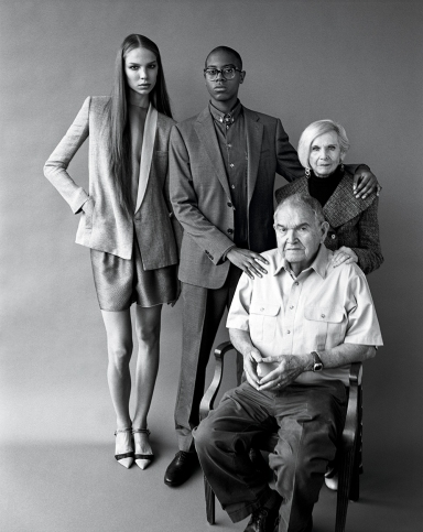 Valentijn (on left) wears Giorgio Armani. Ryley (center) wears Armani Collezioni. Leonard and Gloria wear their own clothes. Photo © Bruce Weber.