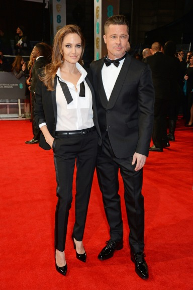 Angelina Jole in Saint Laurent and Brad Pitt in Valentino