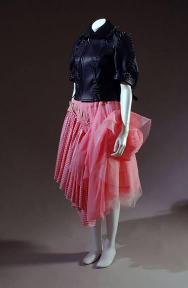 Comme des Garçons (Rei Kawakubo) jacket and skirt Black leather, pink gingham and tulle, spring 2005, Japan, 2005.49.1
