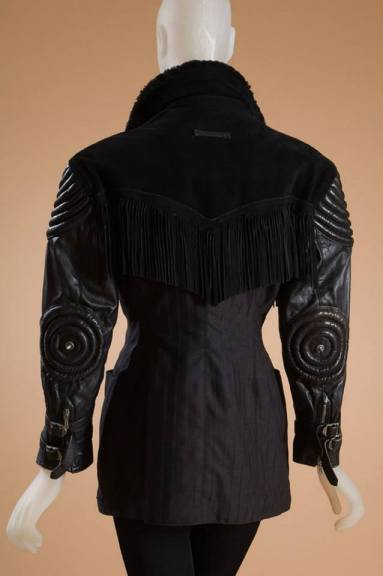 Jean Paul Gaultier jacket Black leather, faux fur, suede, and grey wool, 1987, France, gift of Anne M. Zartarian, 2000.23.10