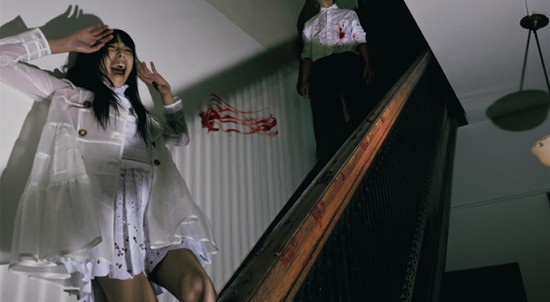 """Vogue Italia """"Horror Movie"""" - Issa Lish @ Muse NYC. lined nylon trench coat with point d'esprit, RED Valentino, broderie anglaise lace dress with pleated skirt, Alberta Ferretti. For him: Gap shirt, Prada pants."""