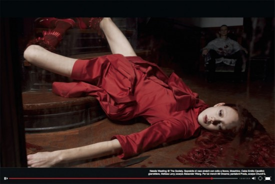 "Vogue Italia ""Horror Movie"" - Natalie  Westling @ The Society. Full-length jacket with stretch satin neck bow, Moschino. Hosiery Emilio Cavallini, garters, Melissa Levy, Alexander Wang shoes. For him: Dreams trench 99; Prada trousers, Church's shoes."