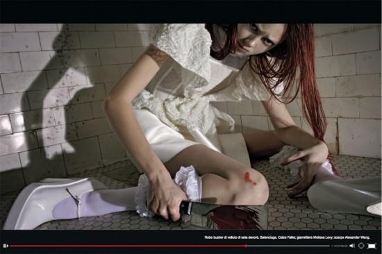 "Vogue Italia ""Horror Movie"" - Robe bustier silk velvet devore, Balenciaga. Falke Socks, Melissa Levy garters, Alexander Wang shoes."