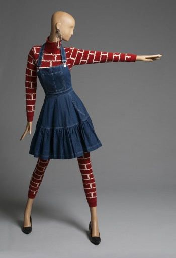Woman's Ensemble: Jumpsuit and Apron, Fall/Winter 1987. Patrick Kelly, American (active Paris), c. 1954 - 1990. Jumpsuit: Wool and acrylic knit. Apron: Cotton twill denim, metal. Promised gift of Bjorn Guil Amelan and Bill T. Jones.