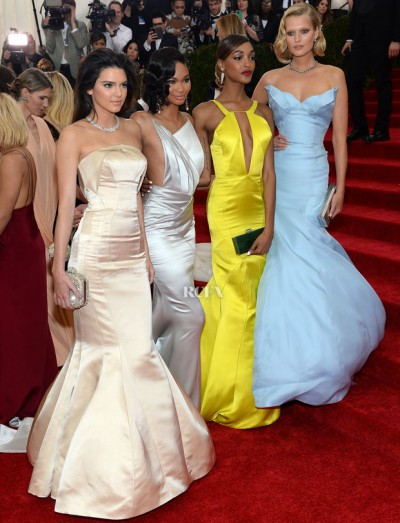 Topshop Met Gala Gowns (L-R) Kendall Jenner, Chanel Iman, Jourdan Dunn and Toni Garn