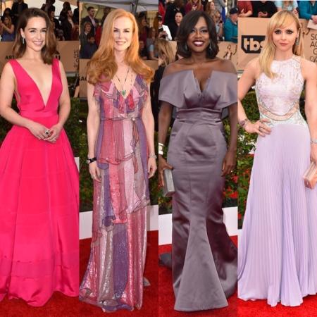 (L to R) Emilia Clarke in Dior, Nicole Kidman in Gucci, Viola Davis in Zac Posen and Christina Ricci in Christopher Kane