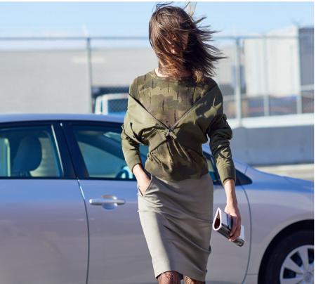 Carine Roitfeld  for Uniqlo - Military Blouse $69.90,  Boat-neck Sweater $39.90, Cotton Pencil Skirt $49.90