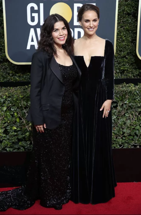 America Ferrera in Christian Siriano and Natalie Portman in Dior