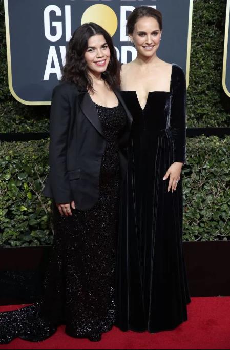 America Ferrera in Christian Siriano and Natalie Portman in Dior