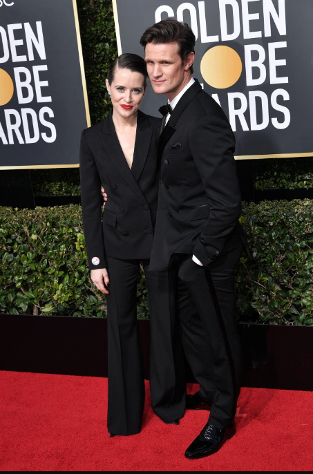 Claire Foy in Stella McCartney and Matt Smith in Burberry