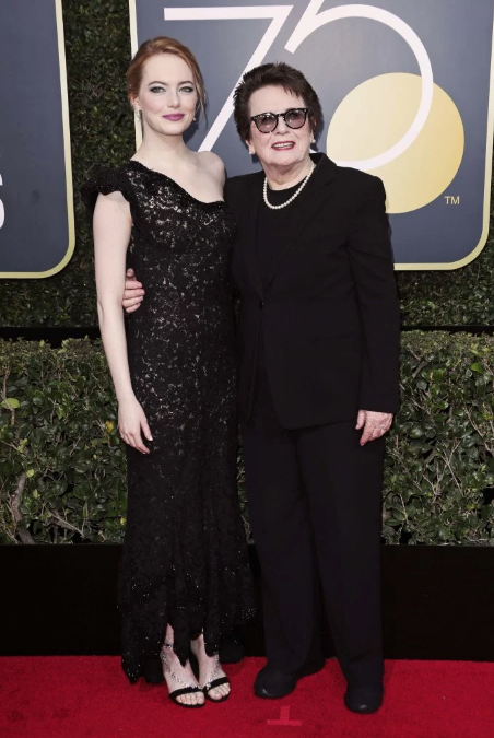 Emma Stone in Louis Vuitton with Billie Jean King