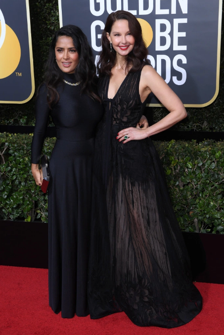 Salma Hayek in Balenciaga with Ashley Judd in Elie Saab